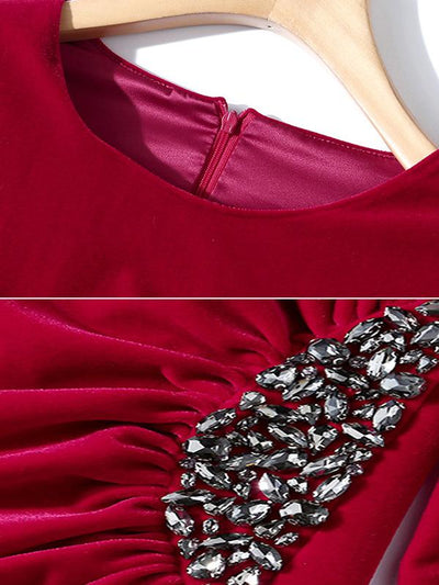 Velour Beaded Ruffles High Waist Bodycon Dress