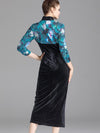 Stand Collar Cheongsam Velour Bodycon Dress