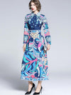 Turn-Down Collar Vintage Print Button Maxi Dress