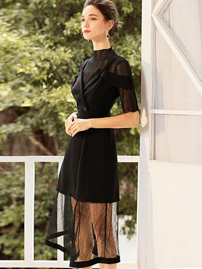 Mesh Perspective Stitching Half-Collar Two-Piece Dress