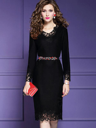 Patchwork Wool Embroidery Bodycon Dress (Without Belt)