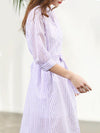 Purple Stripe Lace-Up Button Skater Dress