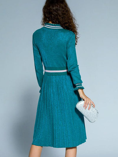 Ruffled Collar Wool Button Knit Skater Dress