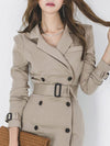 Lapel Collar Sashes Button Work Bodycon Dress