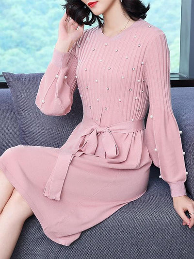 Beaded Lace-Up Knit Pink Skater Dress