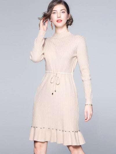 Knit Lace-Up Mermaid Long Sleeve Skater Dress