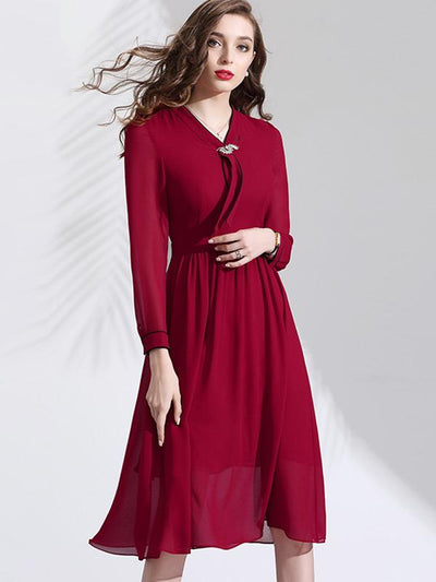 Gathered Waist Red Lace-Up Decoration Skater Dress