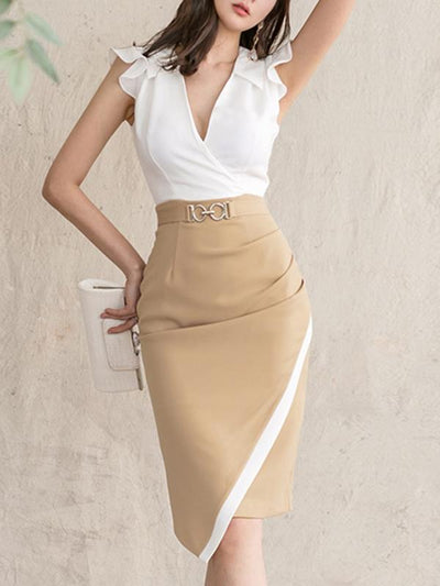 Falbala Stitching High Waist Bodycon Dress