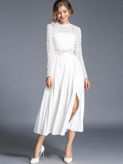 White Hollow Out Lace Big Hem Skater Dress