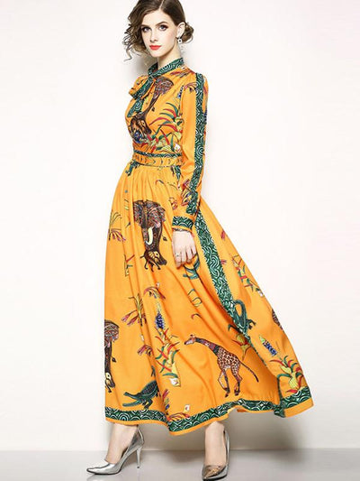Print Gathered Waist Lace-Up Maxi Dress