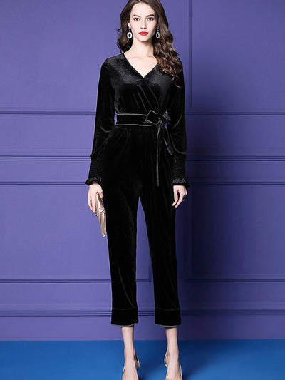 Elastic Flare Sleeve Sashes Velour Slim Jumpsuit