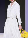 Belted Patchwork Lace Lapel Collar White Maxi Dress