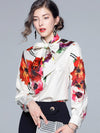 Bowknot Floral Print Long Sleeve Blouse