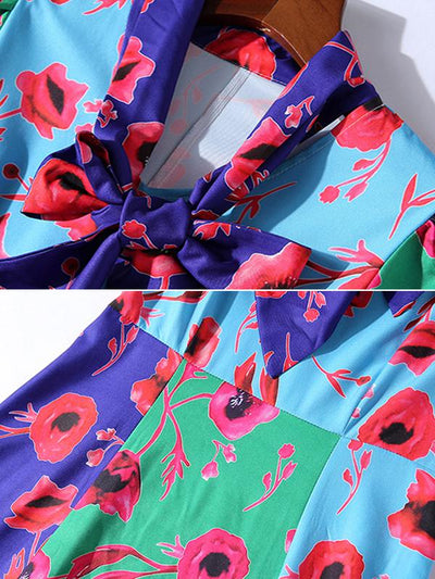 Multicolor Bowknot Gathered Waist Print Skater Dress