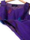 Vintage Sleeveless Square Neck Purple Maxi Dress (Without Belt)