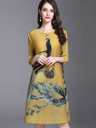 Loose Print Seven Sleeves O-Neck Shift Dress