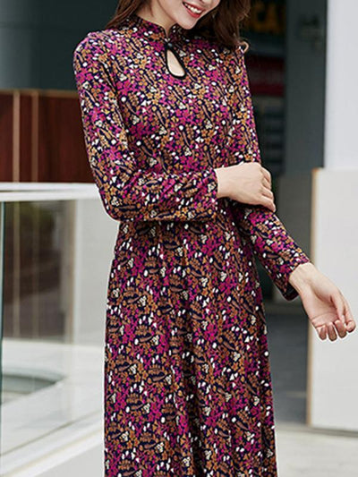 Gathered Waist Stand Collar Big Hem Print Maxi Dress