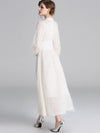 Stand Collar Tassels Puff Sleeve Maxi Dress