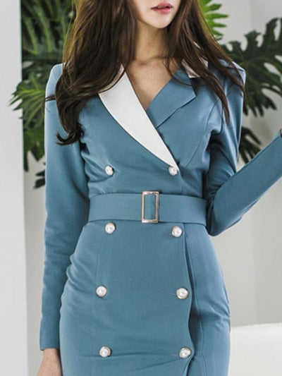 Work Button Lapel Collar Blue Sashes Bodycon Dress