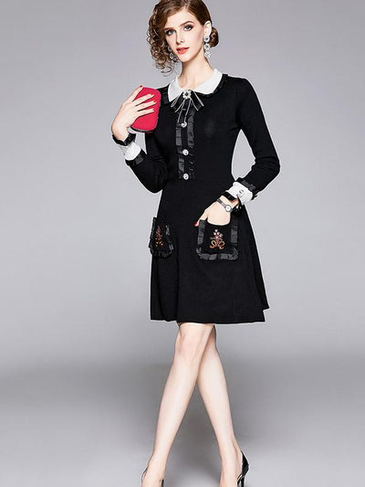Embroidery Peter Pan Collar Decoration Sweater Dress