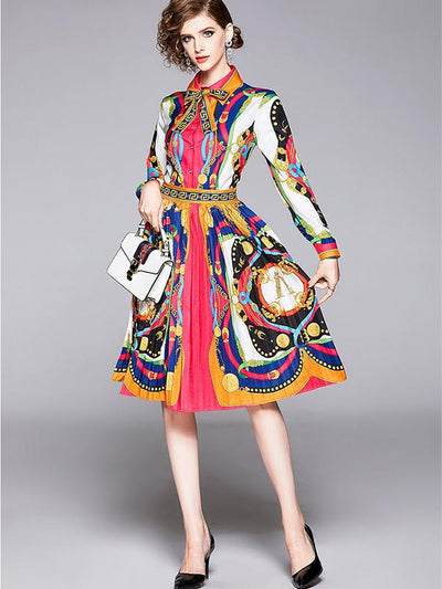 Multicolor Gathered Waist Print Bowknot Skater Dress