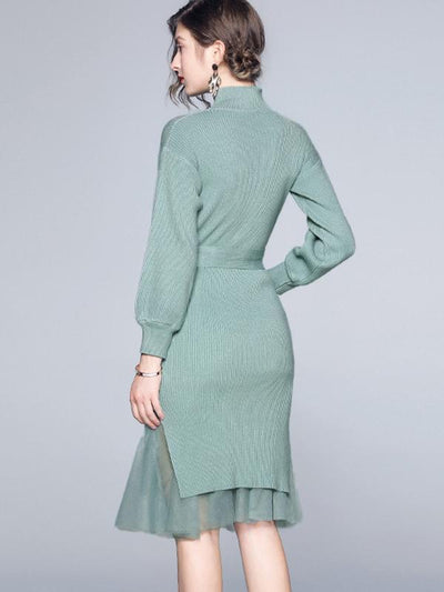 Knit Stitching Mesh High Collar Sashes Sweater Dress