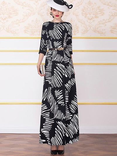 Zipper Seven Sleeves Print Polyester Maxi Dress (Without Belt)