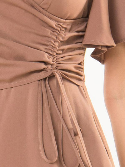 Brown Ruffles Lace-Up High Waist Skater Dress