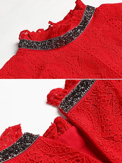 Red Perspective Lace Ruffled Collar Skater Dress
