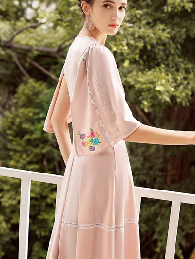 Pink Flare Sleeve Embroidery Skater Dress