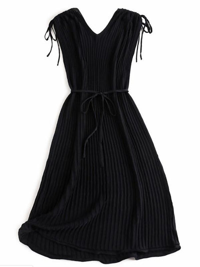 Gathered Waist Ruffles V-Neck Lace-Up Skater Dress