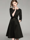 Black Big Hem Belted Seven Sleeves A-Line Dress