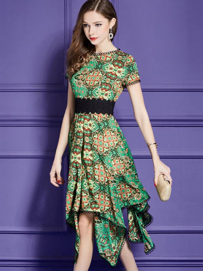 Green Asymmetric High Waist Print Skater Dress