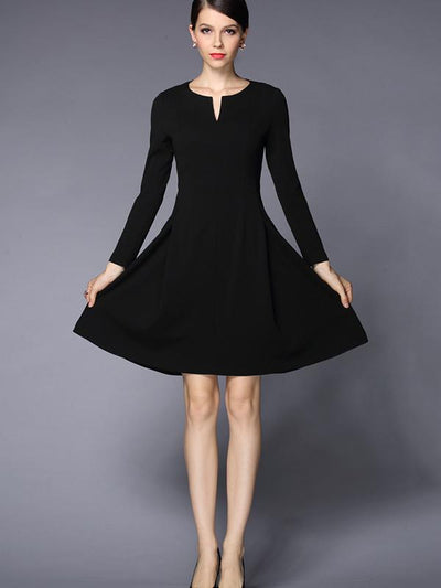 Solid Color O-Neck Long Sleeve Skater Dress