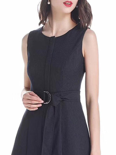 O-Neck Sashes Patchwork Sleeveless Skater Dress