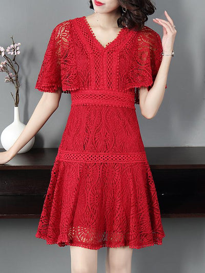 Gathered Waist Red Lace Flare Sleeve Skater Dress