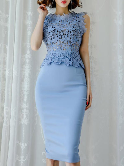 Hollow Out Lace Patchwork High Collar Bodycon Dress