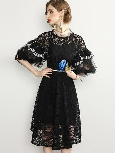 Mesh Puff Sleeve Hollow Out Lace Skater Dress