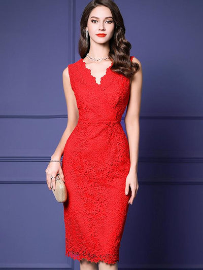 Sleeveless Work High Waist Lace Bodycon Dress