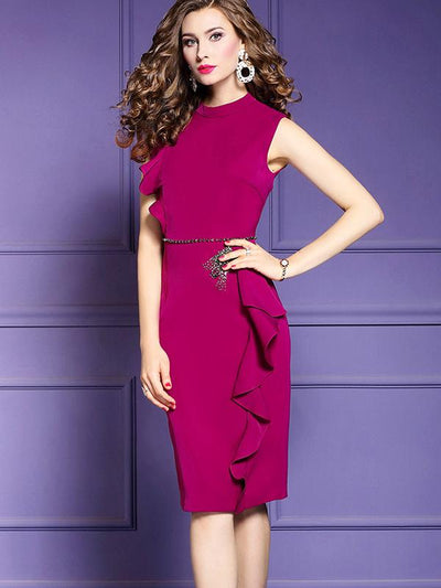 Gathered Waist Ruffles Irregular Bodycon Dress