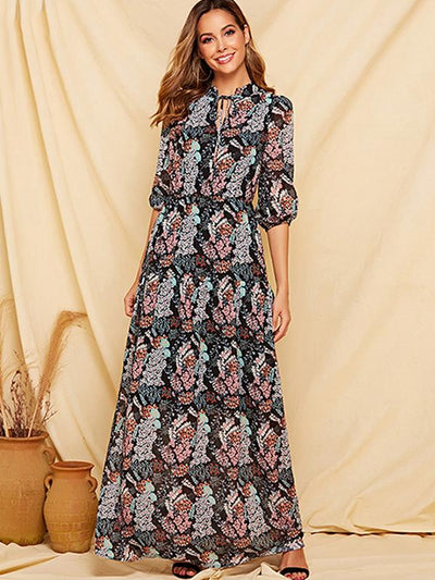 Lace-Up Ruffles Floral Print Seven Sleeves Maxi Dress