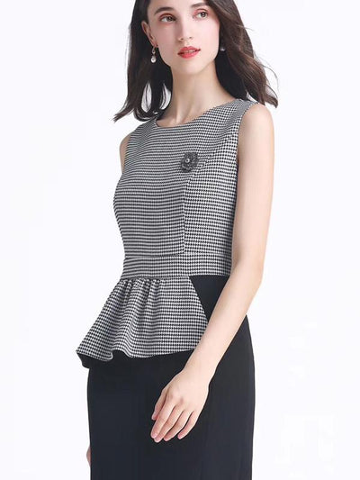 Houndstooth Falbala Zipper Bodycon Dress