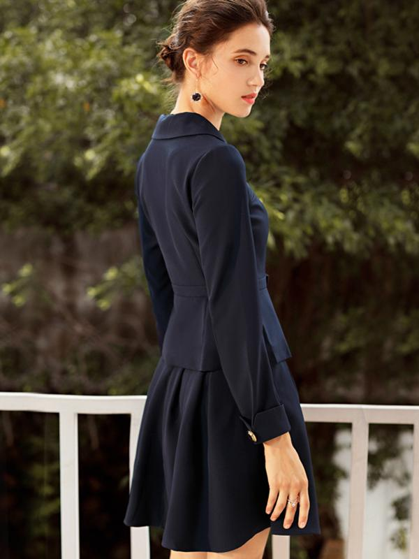 Lapel Collar Gathered Waist Long Sleeve Two-Piece Dress