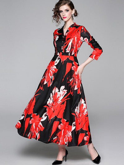 Single Breasted Print High Waist Maxi Dress