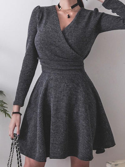 Gathered Waist Deep V-Neck Skater Dress