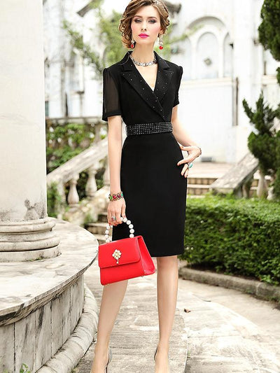 Gathered Waist Lapel Collar Beaded Bodycon Dress
