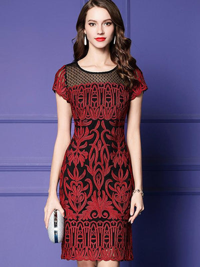 Embroidery Stitching Hollow Out Mesh Bodycon Dress