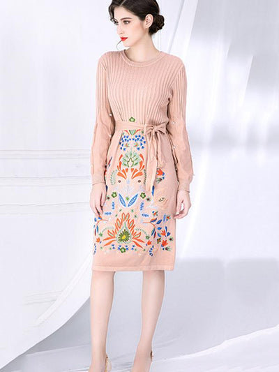 Puff Sleeve Beaded Lace-Up Embroidery Sweater Dress