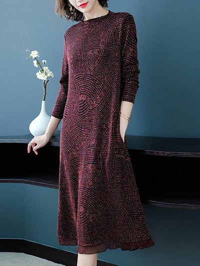 O-Neck Long Sleeve Knit Sweater Dress