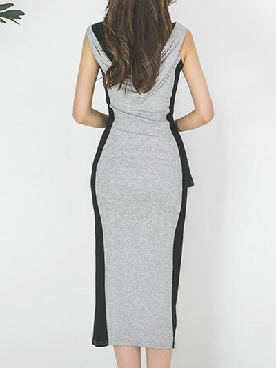 Hooded Zipper Color-Block Slit Bodycon Dress